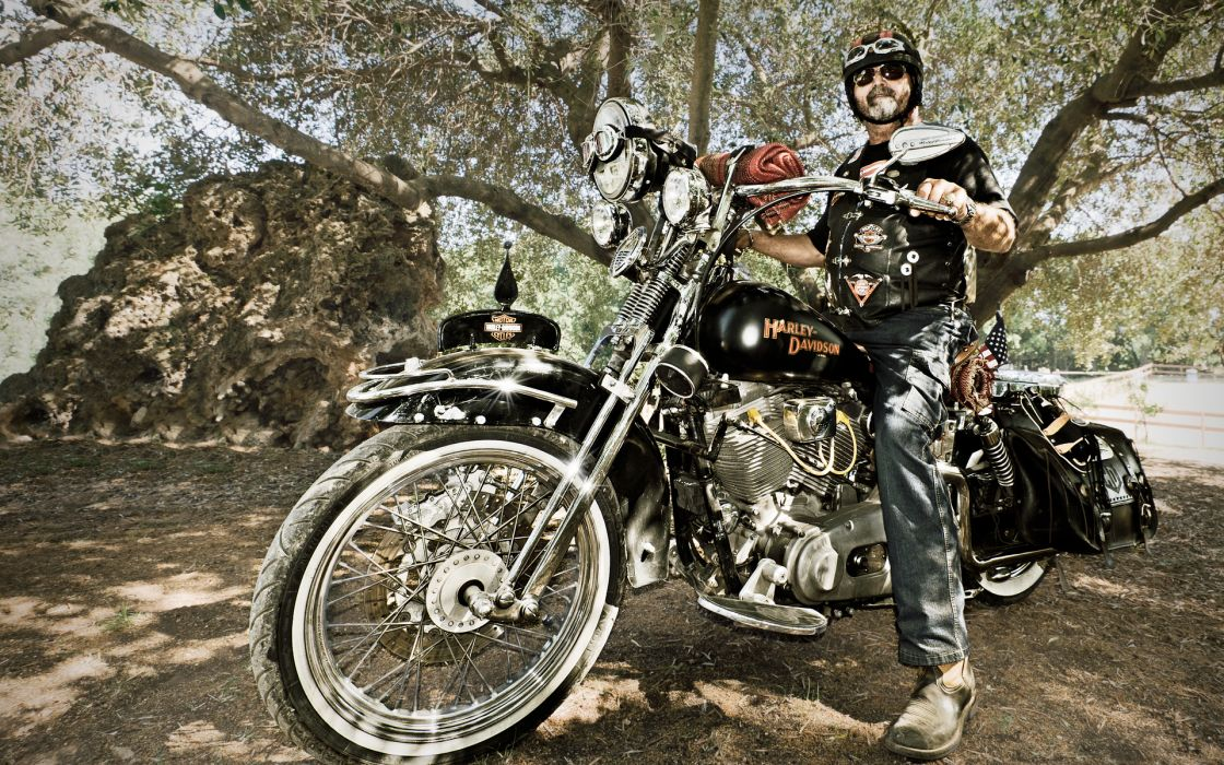 Harley-Davidson Davidson Harley motorcycles motorbikes bikers people men males wallpaper