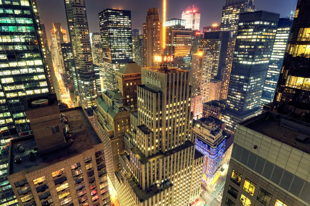 new-york nyc cities architecture buildings skyscrapers night lights hdr wallpaper