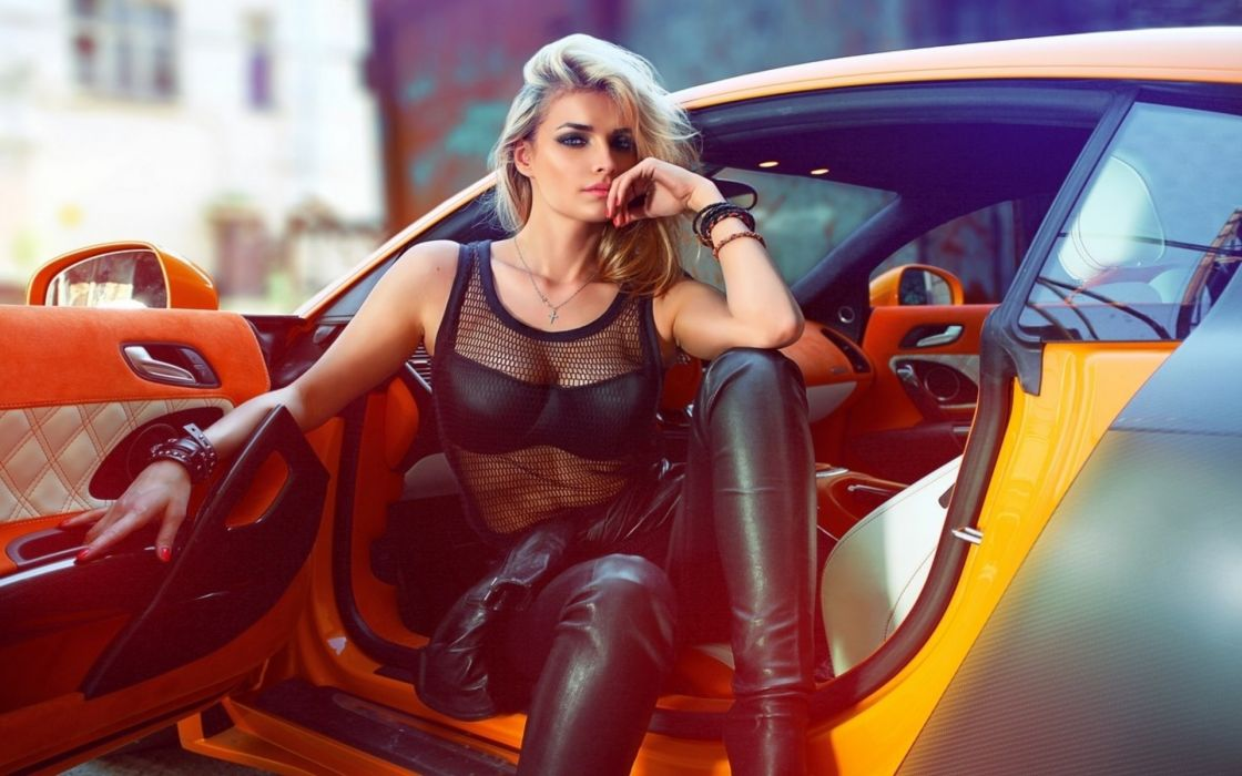 people women females girls models fashion style sexy sensual babes vehicles cars wallpaper