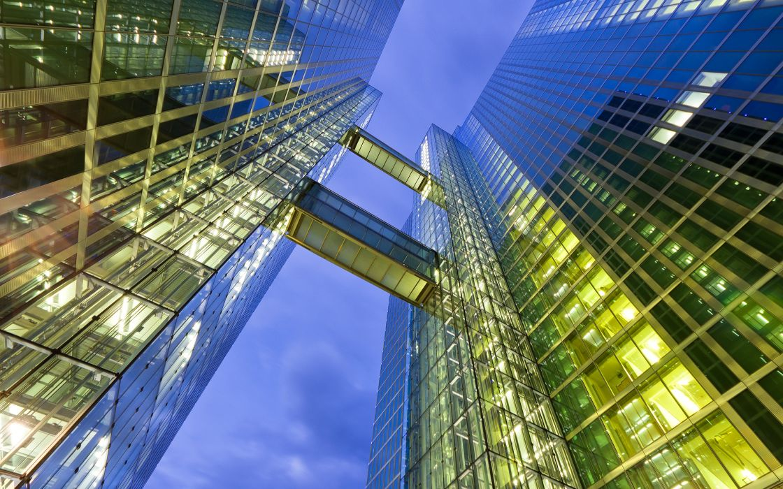 architecture buildings skyscrapers glass refections skies wallpaper