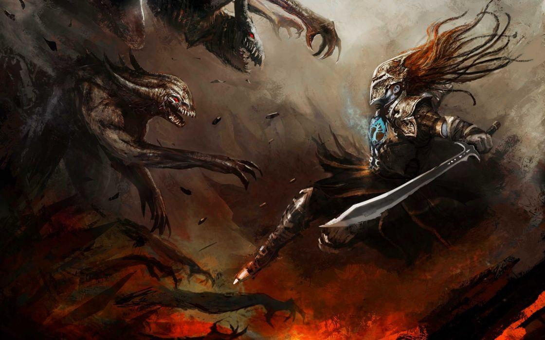 cloudminedesign_deviantart_com fantasy battles war warriors demons creatures monsters evil dark scary cg paintings digital-artmweapons fire flames wallpaper