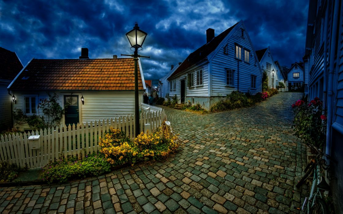 hdr photography cobblestones roads streets night lights lamp-posts lamps houses buildings clouds skies wallpaper
