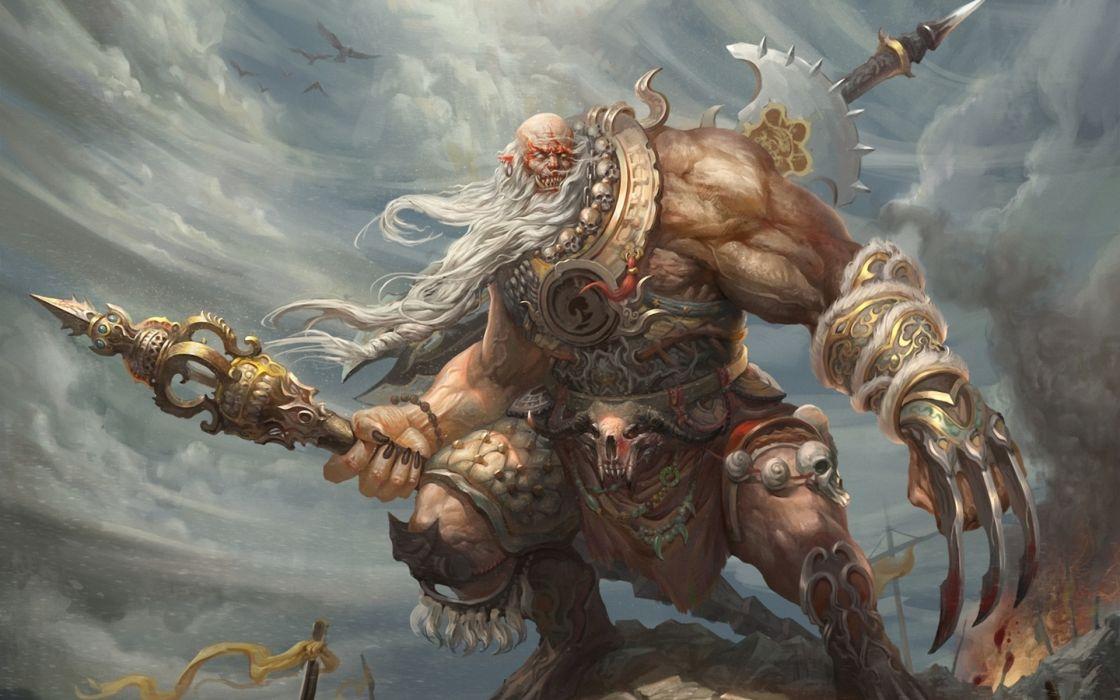 Fantasy warriors weapons swords evil games artistic dark demons creatures monsters paintings wallpaper
