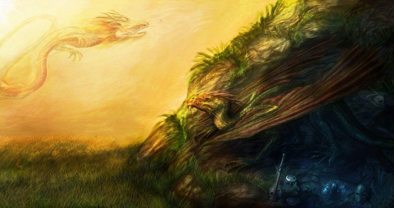 Chinese paintings fantasy dragons oriental asian artistic colors magical wallpaper