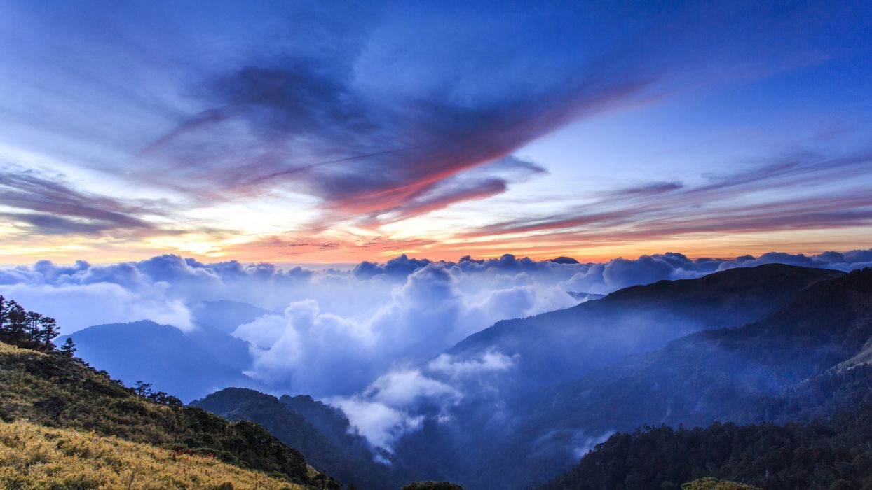 landscapes nature mountains hills trees forests scenic clouds skies sunsets sunrises colors wallpaper
