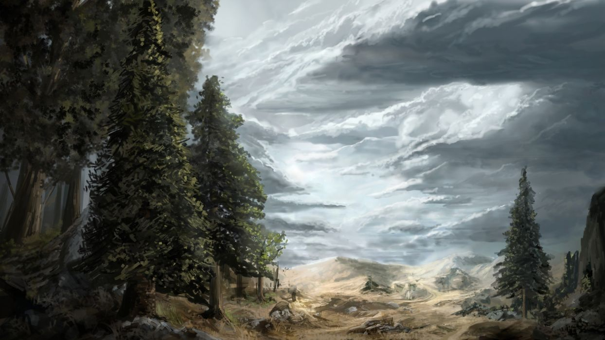 artistic paintings cg digital-art landscapes nature trees forests scenic slies clouds wallpaper