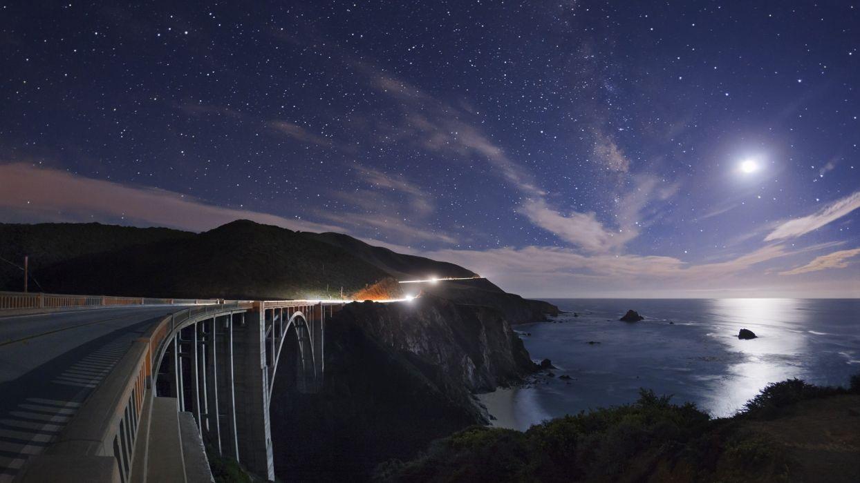 photography night lights nature landscapes timelapse time-lapse roads bridges architecture skies clouds stars moons scenic oceans cliffs wallpaper