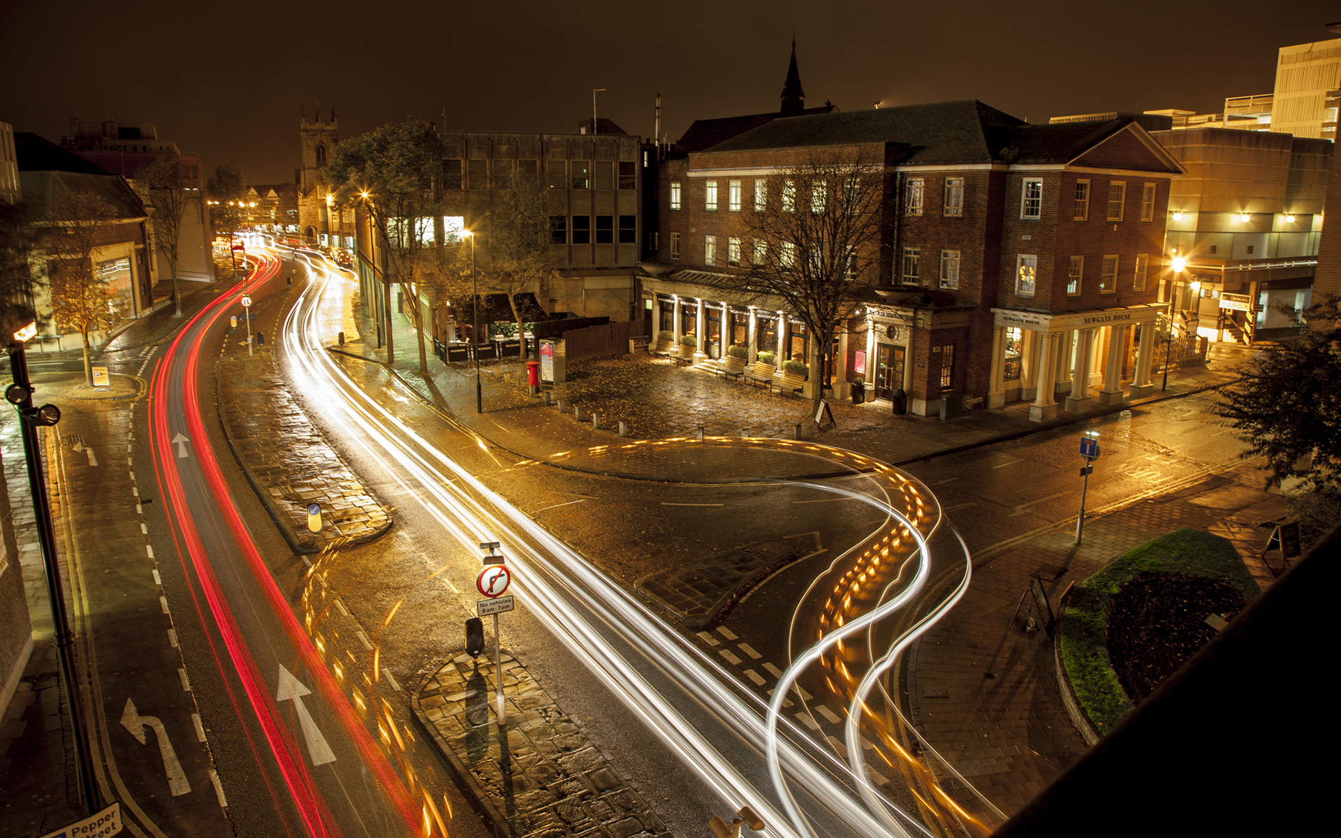 Photography timelapse buildings night lights traffic roads ...