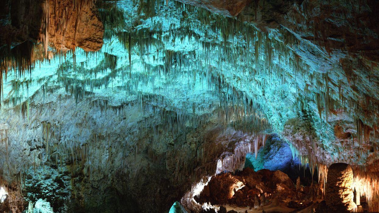 landscapes caves colors Stalactites Stalagmites scenic wallpaper
