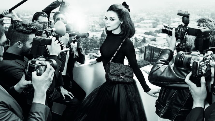 Christian_Dior Purse Handbag BW Mila-Kunis Brunette Photographer Camera Paparazzi Fashion style women females girls Kunis celebrities wallpaper