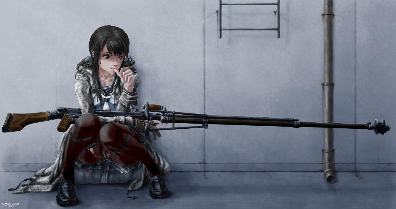 anime women females girls sensual weapons guns rifles mood original dark anime wallpaper