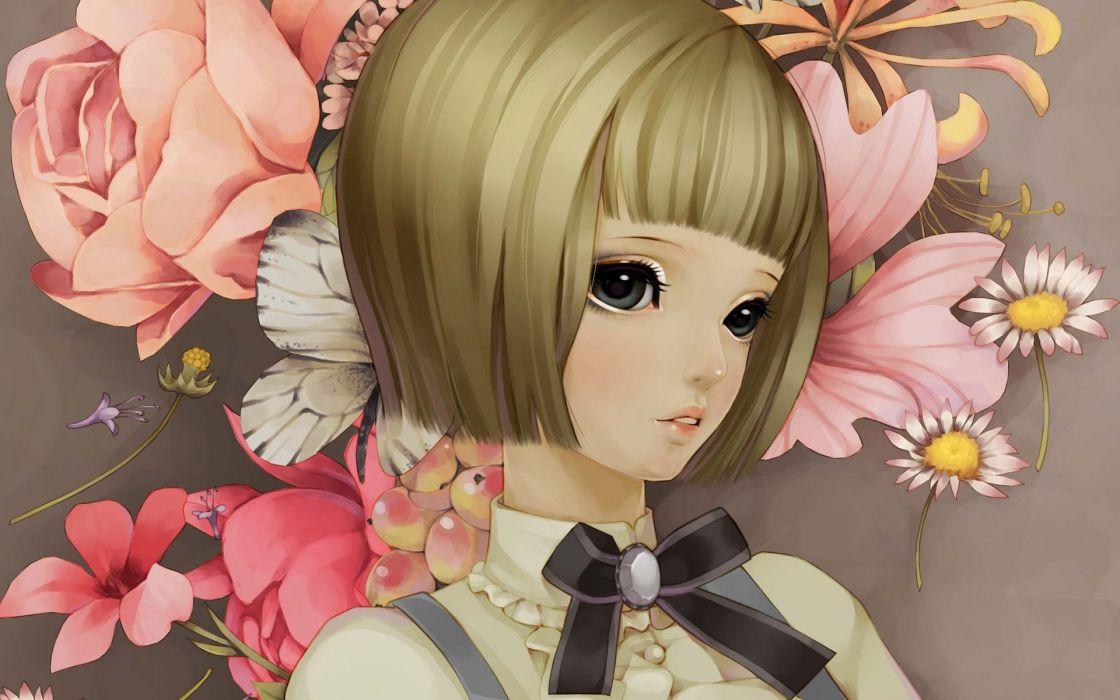 dong-xiao anime anime-girls flowers artistic women females girls pink artistic wallpaper