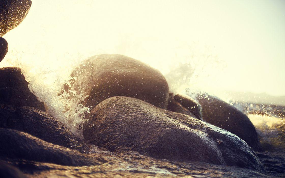 nature oceans waves shorelines beaches water rocks splash seascapes wallpaper