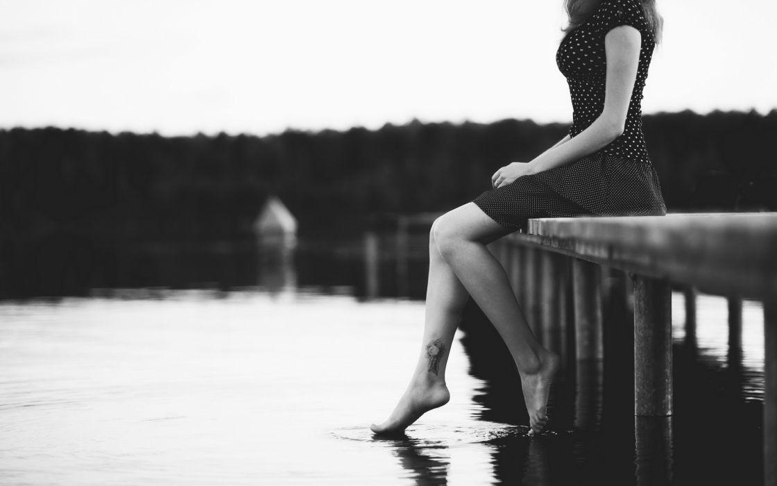 black-and-white b/w photography mood women females girls tattoos legs style sensual wallpaper