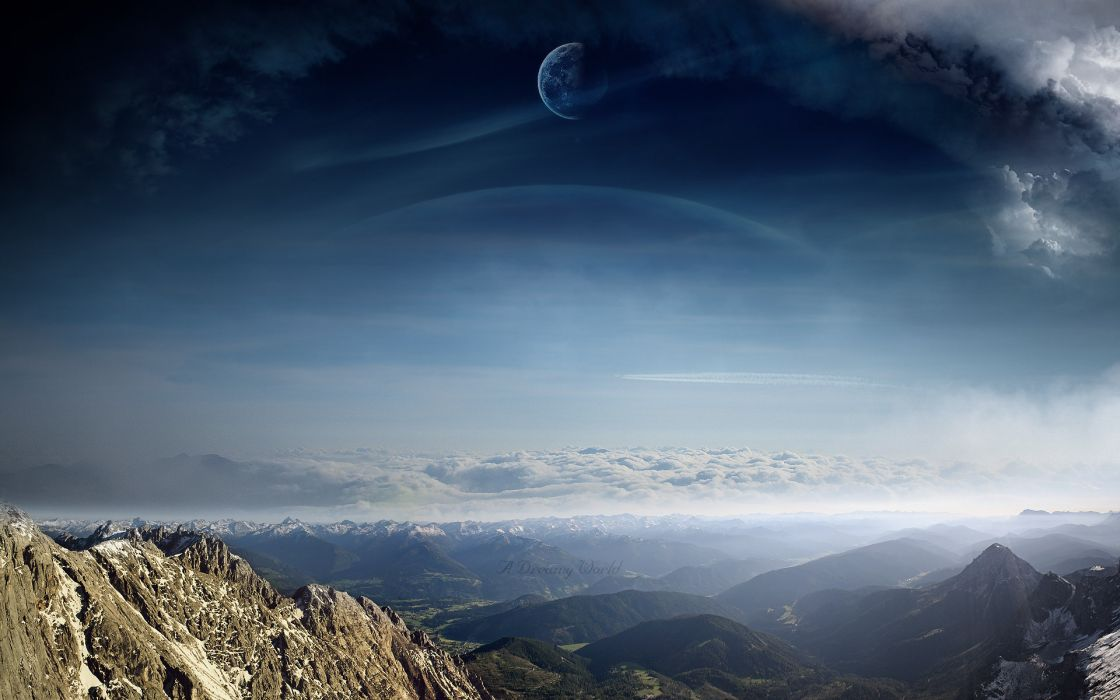 manipulations sci-fi cg digital-art landscapes mountains skies clouds dreamy planets moons scenic alien-landscapes wallpaper