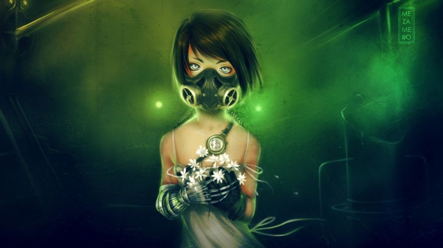 gas-masks masks gasmasks gothic cyberpunk emo flowers style women females girls dark creepy anime League-Of-Legends League Legends games video-games fantasy sci-fi wallpaper