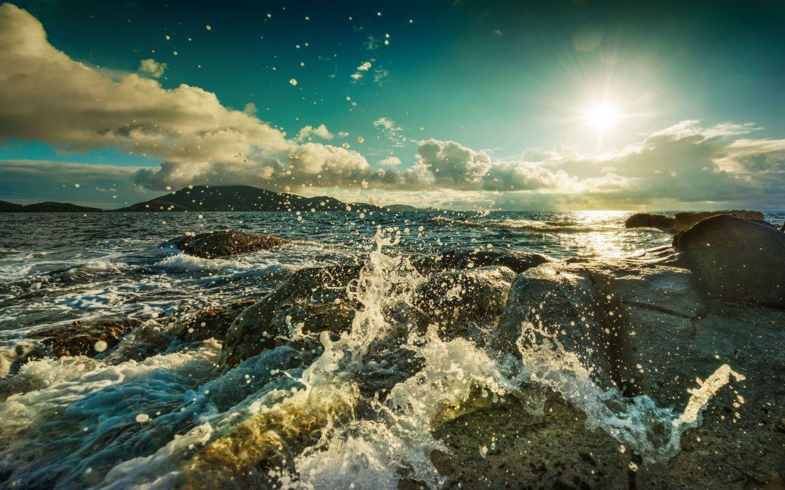 seascapes oceans nature waves waterdrops water-drops rocks shorelines coastlines skies clouds sun wallpaper