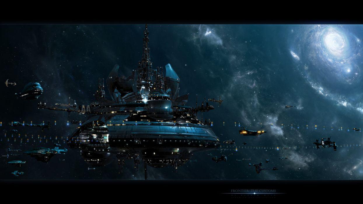 alexwild_deviantart_com sci-fi futuristic space spaceships spacecrafts stars galaxies nebula lights windows digital-art cg 3d wallpaper