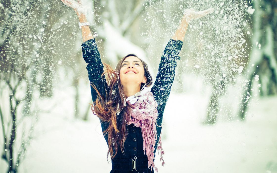 winter seasons snow snowflakes trees women females girls style fashion models wallpaper
