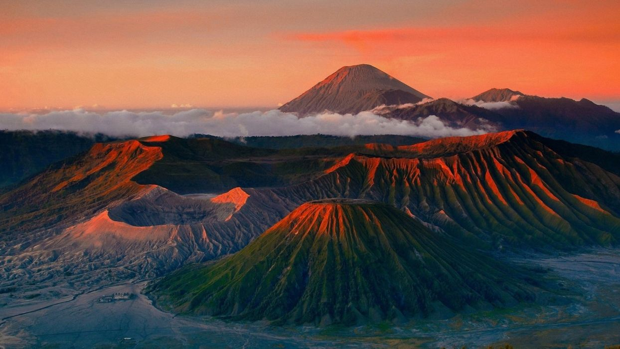 landscapes volcanos sunsets sunrises mountains scenic nature clouds fog mist skies wallpaper