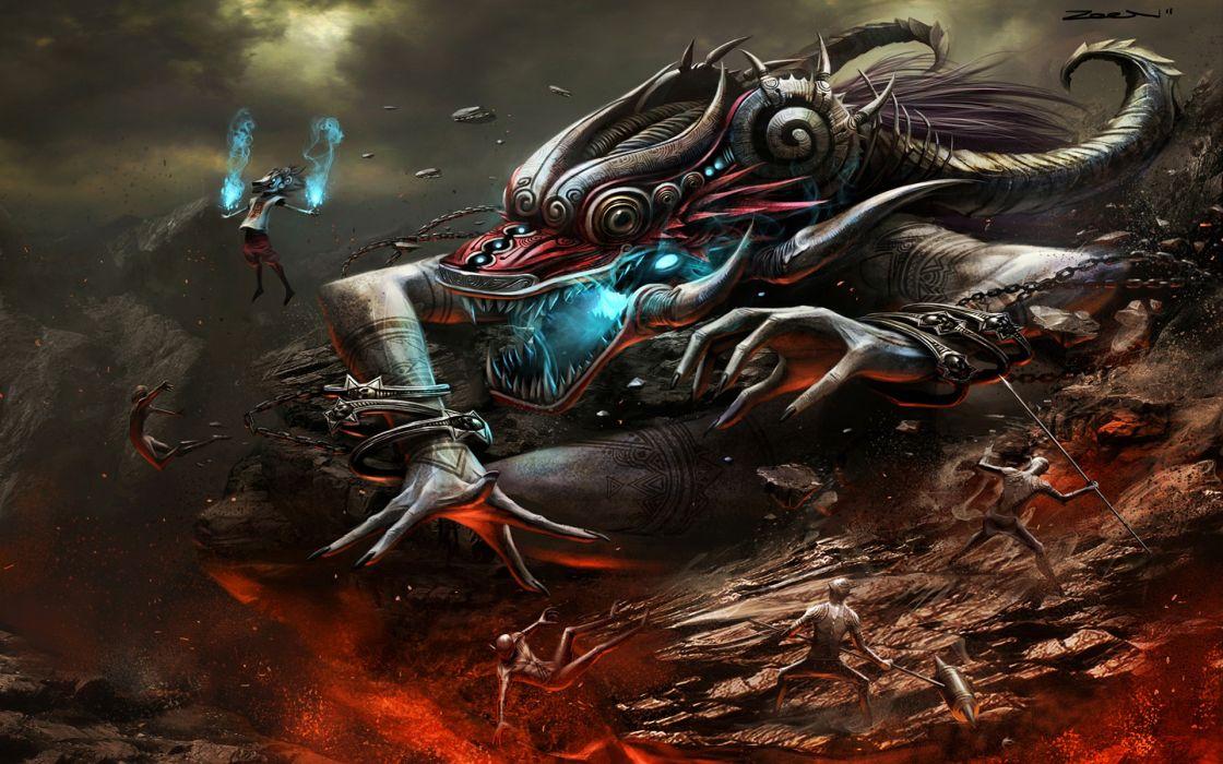 zeen84_deviantart_com sci-fi paintings creature monsters fantasy sci-fi battles war weapons demons cg digital-art fire wallpaper