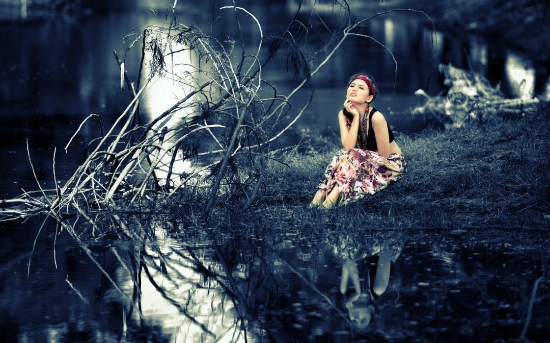 oriental asian women females girls mood style reflections landscapes nature trees forests models wallpaper