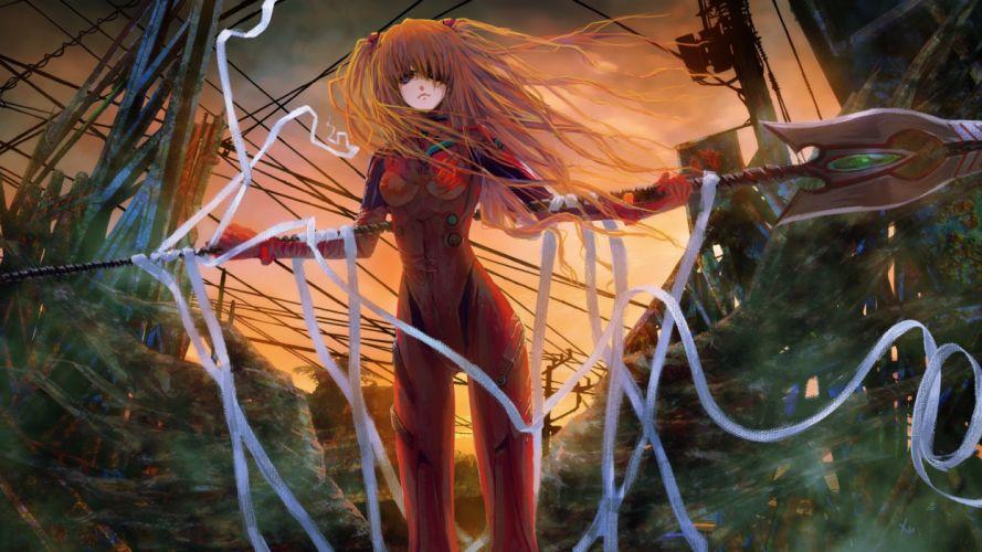 Neon-Genesis-Evangelion Evangelion women females girls weapons wallpaper