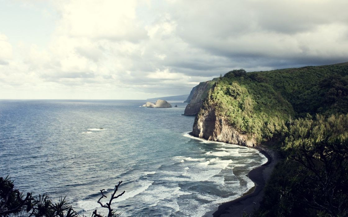 landscapes nature coastlines seascapes waves skies clouds trees forests wallpaper