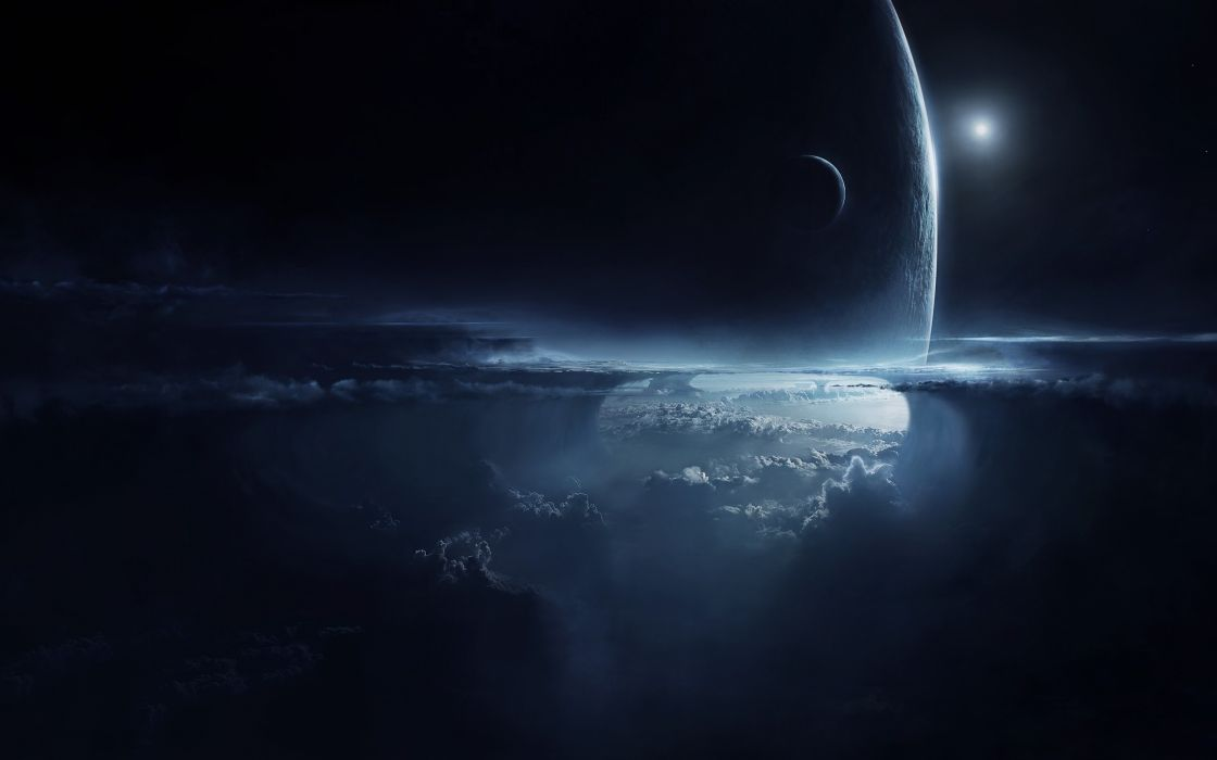 manipulations cg digital-art matte paintings landscapes mountains planets moons space planetscapes fog mist dark sci-fi wallpaper