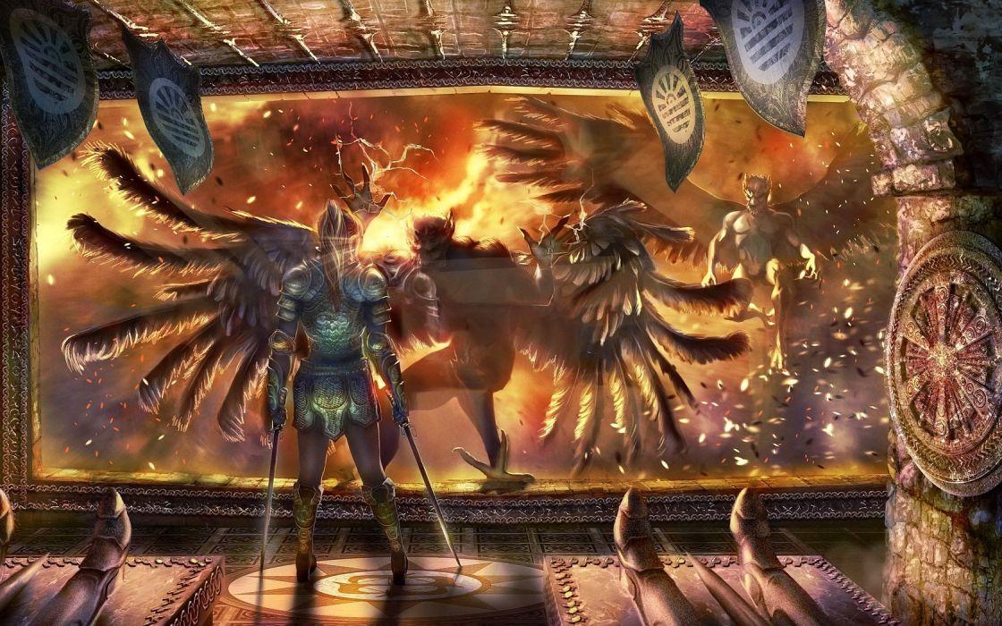 reiiki_deviantart_com sci-fi futuristic warriors soldiers space dark demons creatures monsters fire flames wallpaper