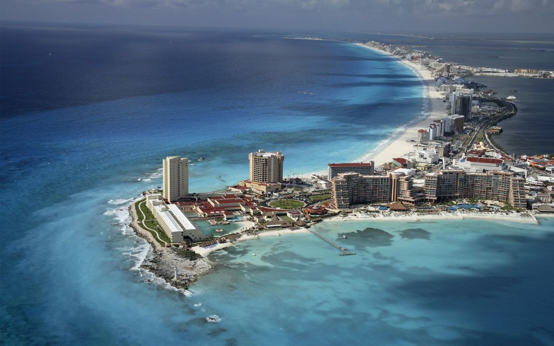 Landscapes cityscapes town skyscrapers city skyline cancun wallpaper