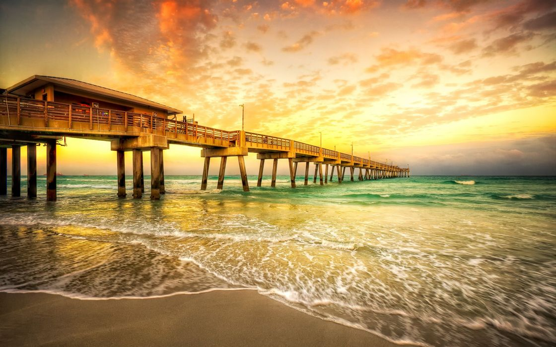 Water sunset sunrise ocean bridges wallpaper