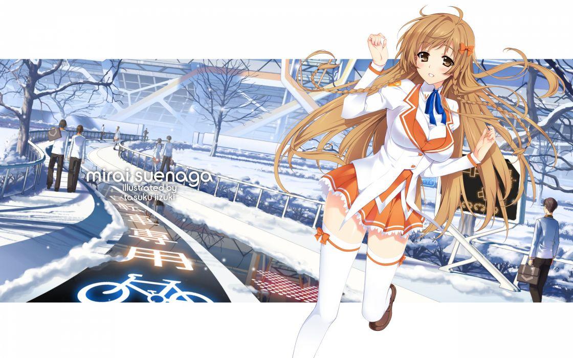 Brown eyes seifuku anime braids anime girls culture japan mirai suenaga wallpaper