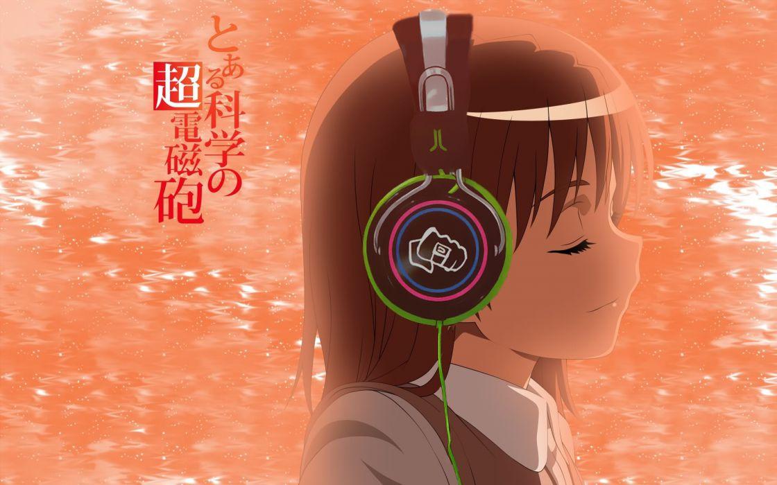 Headphones girl misaka mikoto to aru kagaku no railgun anime girls wallpaper