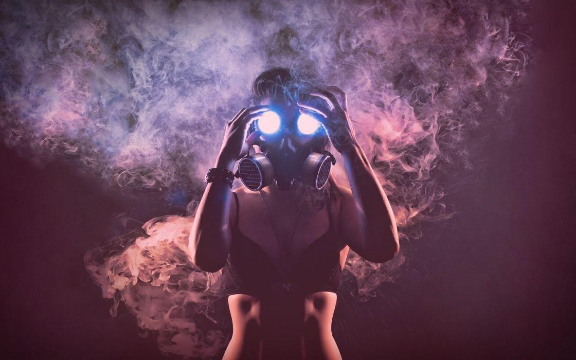 sci-fi mask gas-mask women females girls dark horror smoke wallpaper
