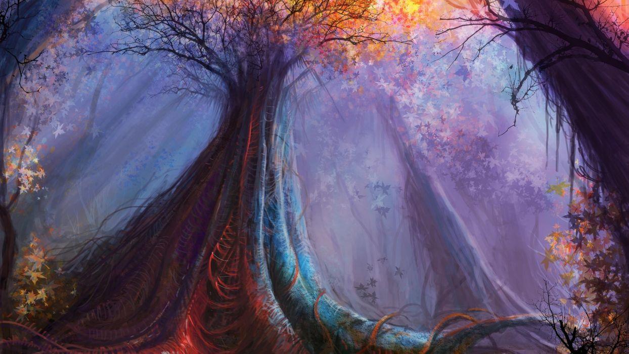 landscapes trees forests artistic fantasy wallpaper
