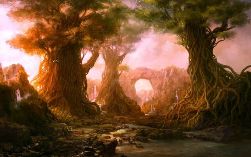 landscapes fantasy nature trees forests artistic wallpaper