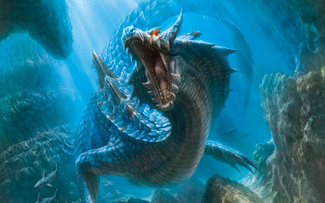 Monster Hunter Moster Fantasy Dragons Creatures Underwater Wallpaper