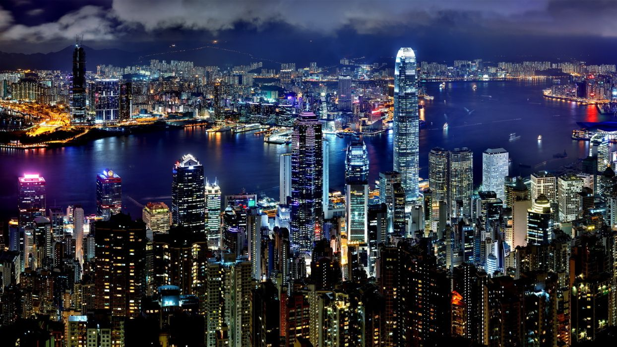 hong-kong hong kong cities architecture buildings hdr night lights wallpaper