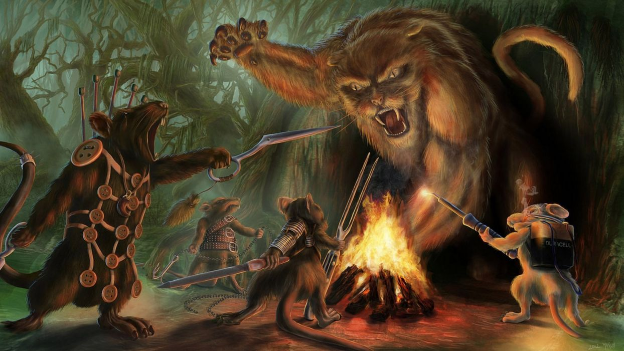 elderscroller_deviantart_com fantasy moster-hunters monsters creatures mice battle paintings cg digital-art humor funny weapons swords fire flames darl_trees forests wallpaper
