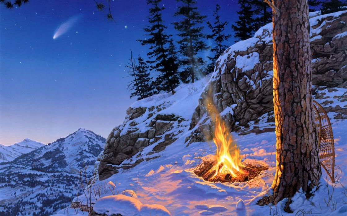 darrel-bush paintings artistic landscapes mountains winter snow fire flames scenic nature trees forests wallpaper