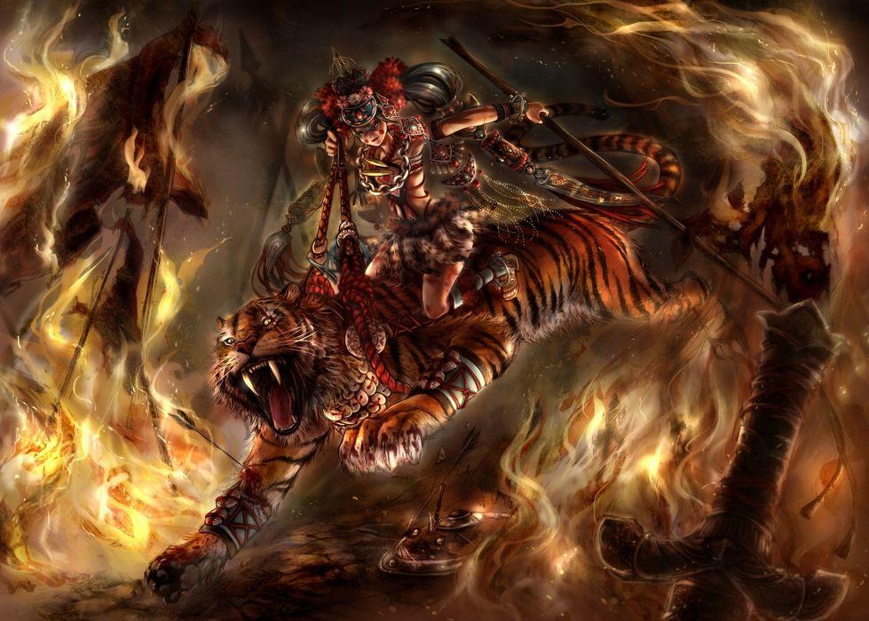fantasy warriors tigers animals fire flames dark battle wallpaper