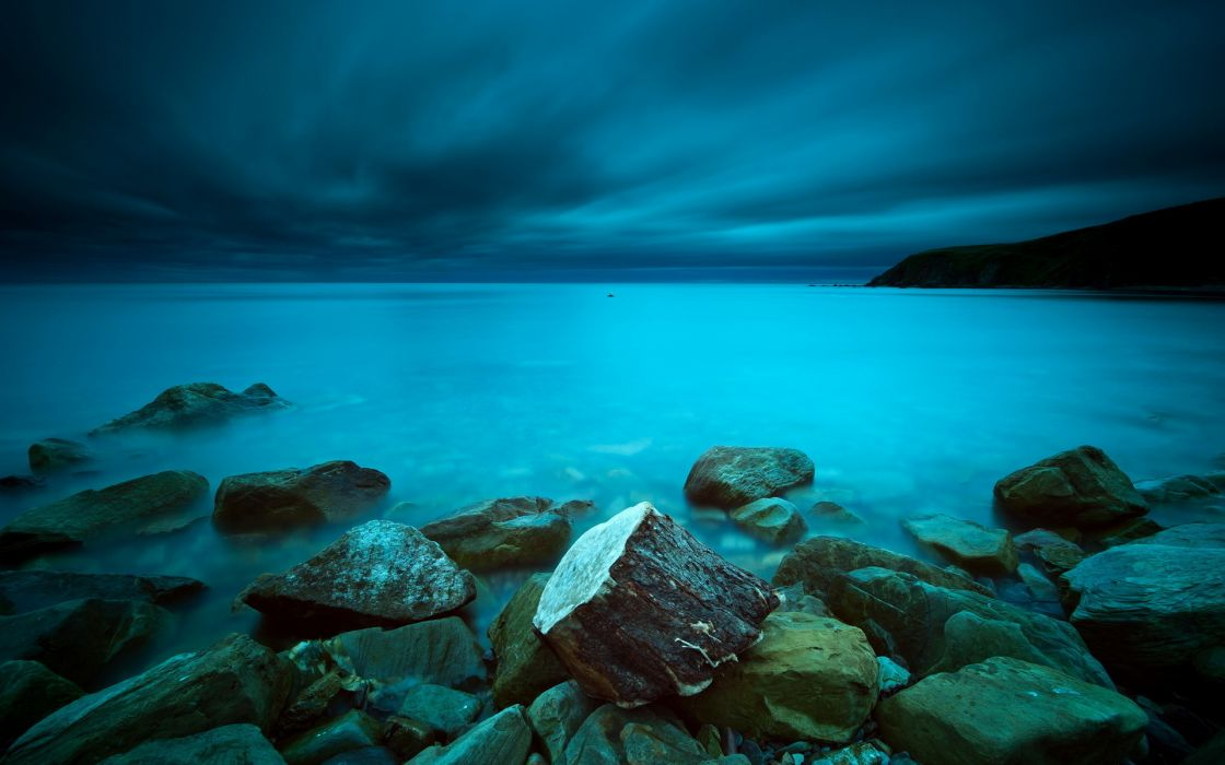 nature seascapes ocean sky clouds shoreline coastline storm wallpaper