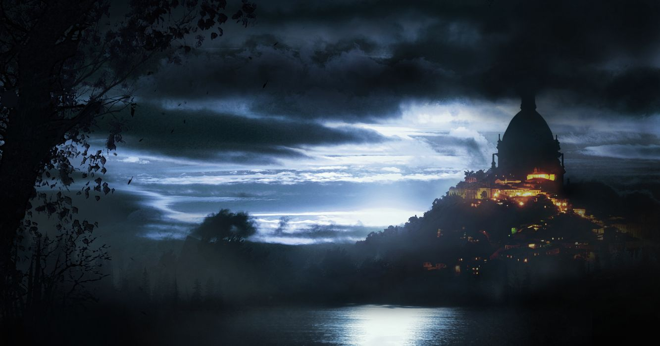 Fantasy Castles Cities Lake Night Clouds Moonlight Lights