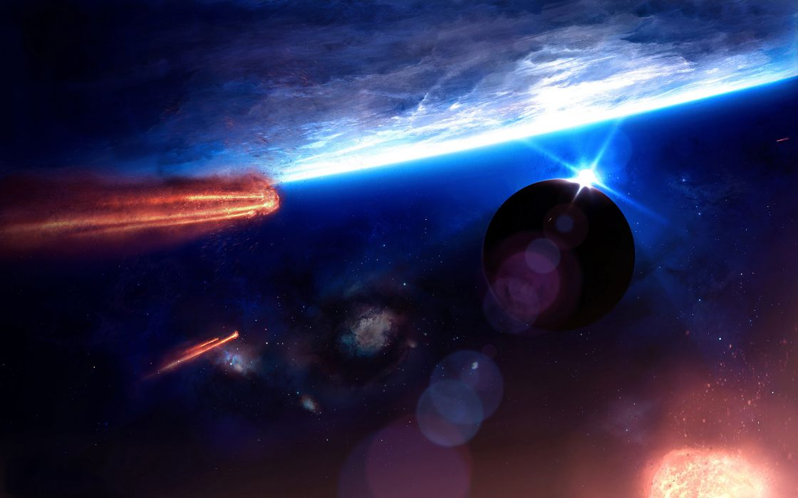 cg digital-art paintings space universe comets asteroids planets stars nebula wallpaper