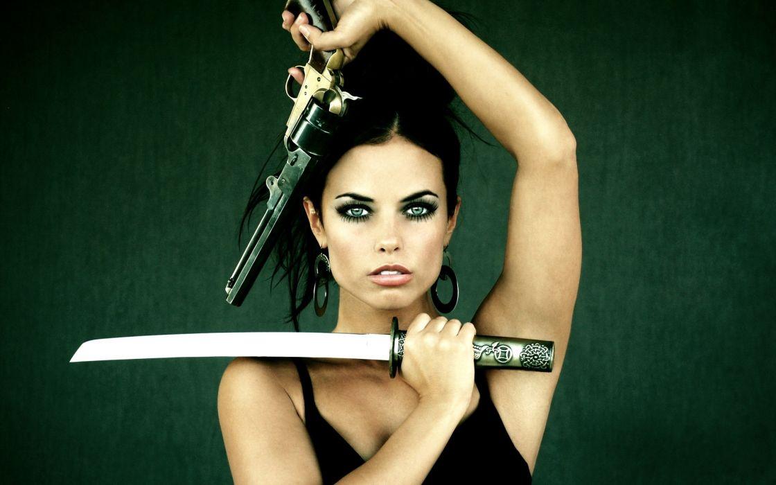weapons katana sword guns pistol women females girls babes sexy sensual wallpaper