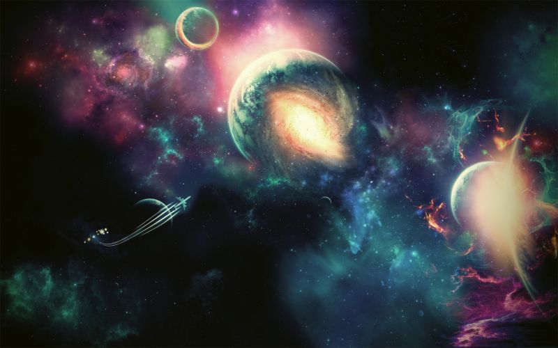 space universe planets spaceships spacecraft wallpaper