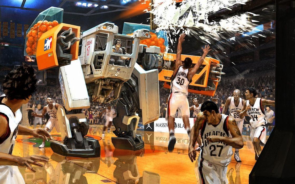 manipulation basketball mech mecha robots humor funny sports wallpaper