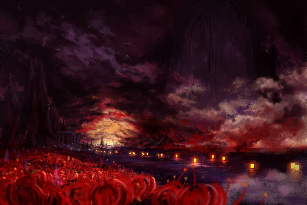 anime touhou landscapes colors artistic wallpaper