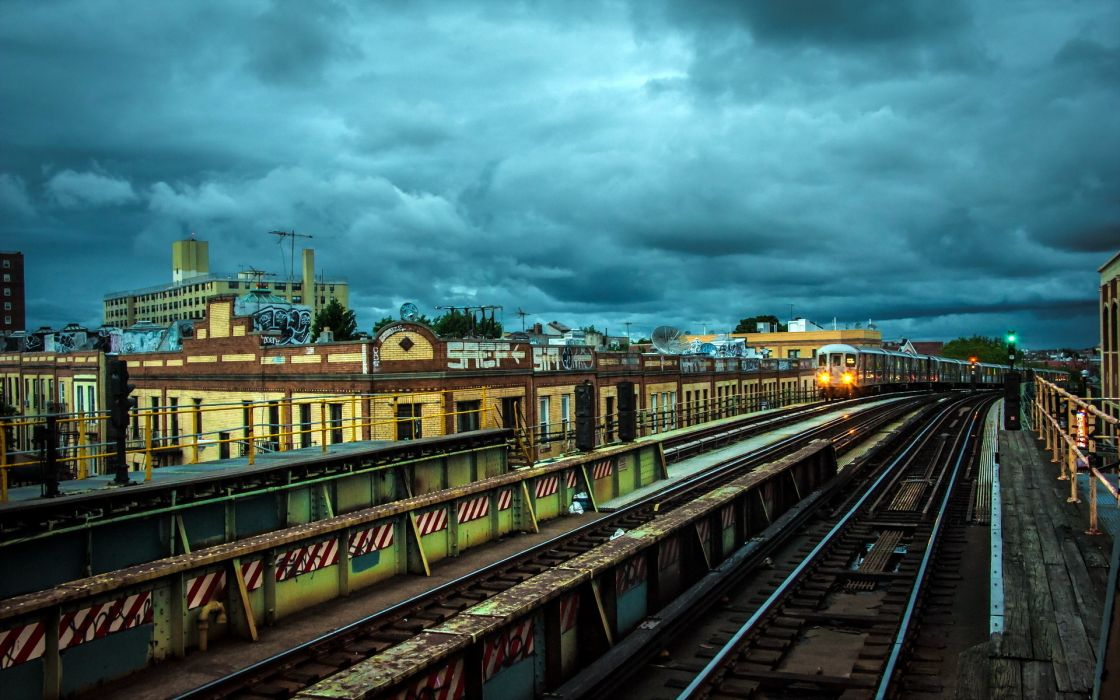 places trains subway tracks cities architecture buildings clouds wallpaper
